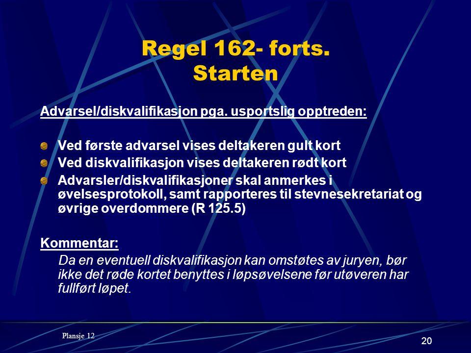 20 Regel 162- forts. Starten Advarsel/diskvalifikasjon pga.