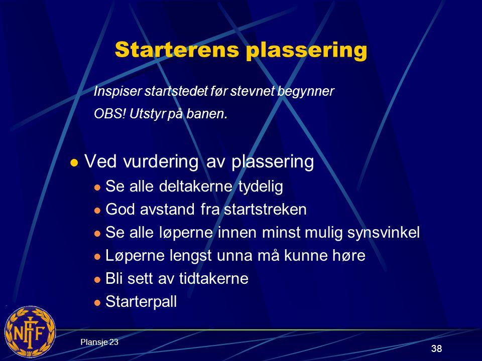 38 Starterens plassering Inspiser startstedet før stevnet begynner OBS.