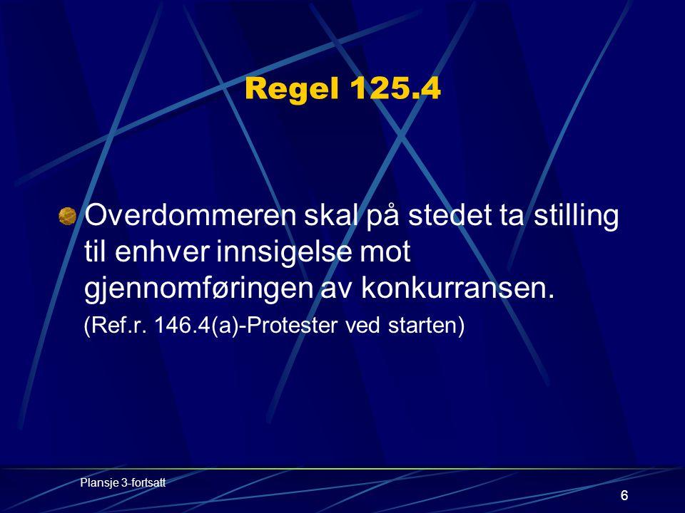 6 Regel 125.4 Overdommeren skal på stedet ta stilling til enhver innsigelse mot gjennomføringen av konkurransen.