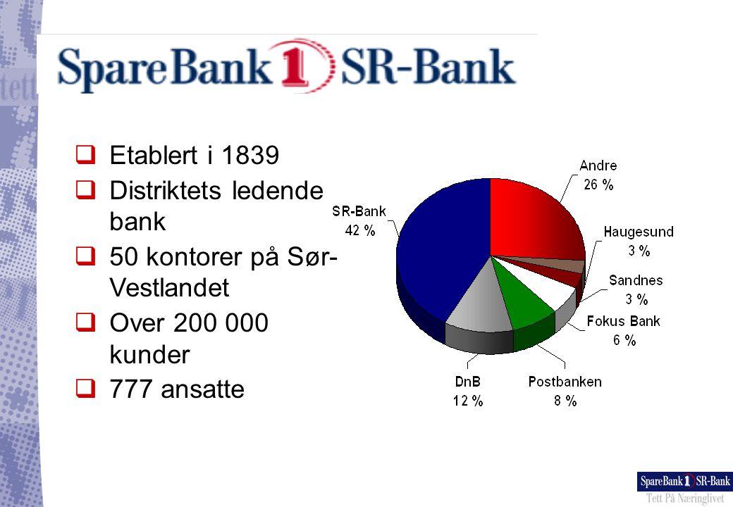 Hovedfokus for SpareBank1 SR-Bank •Målekortet som redskap for å nå strategiske mål •Målekortet som verktøy for endring •Målekortet som verktøy for informasjons- håndtering