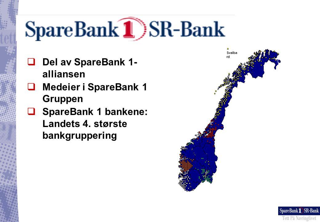 Eiere 13% 25% 13% 10% SpareBank 1 SR-Bank SpareBank 1 Vest SpareBank 1 Midt-Norge SpareBank 1 Midt-Norge SpareBank 1 Nord-Norge SpareBank 1 Nord-Norge Samarbeidende Sparebanker AS LO og fagforbund LO og fagforbund Förenings- Sparbanken Förenings- Sparbanken SpareBank 1 Gruppen AS SpareBank 1 Livsforsikring AS (100%) SpareBank 1 Skadeforsikring AS (100%) SpareBank 1 Finans AS (100%) SpareBank 1 Finans AS (100%) Bank 1 Oslo AS (100%) SpareBank 1 Fondsforsikring AS (100%) EnterCard AS (65%) EnterCard AS (65%) First Securities ASA (51%) First Securities ASA (51%) SpareBank 1 Aktiv Forvaltning AS (100%) SpareBank 1 Aktiv Forvaltning AS (100%) IDA AS (100%) IDA AS (100%) ODIN Forvaltning AS (100%) ODIN Forvaltning AS (100%) Eiendoms-Megler 1 FSPA/ Swedbank Oslo FSPA/ Swedbank Oslo Kundene SpareBank 1-bankene 386 kontorer/møteplasser/distribusjonsenheter 4