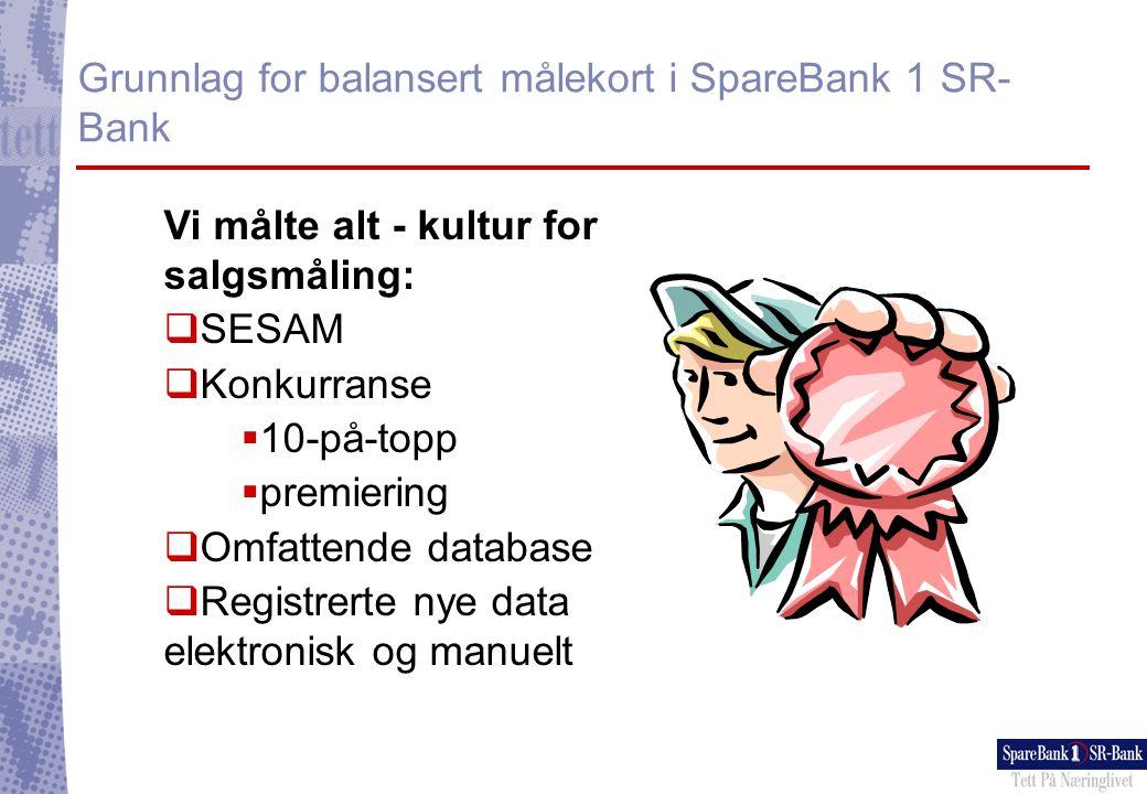 Grunnlag for balansert målekort i SpareBank 1 SR- Bank Opparbeidet stor datamengde:  Fellesdata  BBS  Novit  SSB  Gallup  Manuelt  Regneark  Ad hoc-analyser