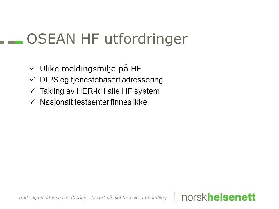 Gode og effektive pasientforløp – basert på elektronisk samhandling OSEAN HF utfordringer  Ulike meldingsmiljø på HF  DIPS og tjenestebasert adressering  Takling av HER-id i alle HF system  Nasjonalt testsenter finnes ikke
