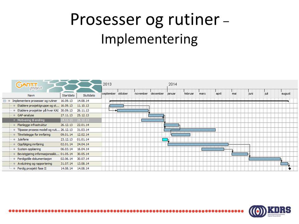 Prosesser og rutiner – Implementering