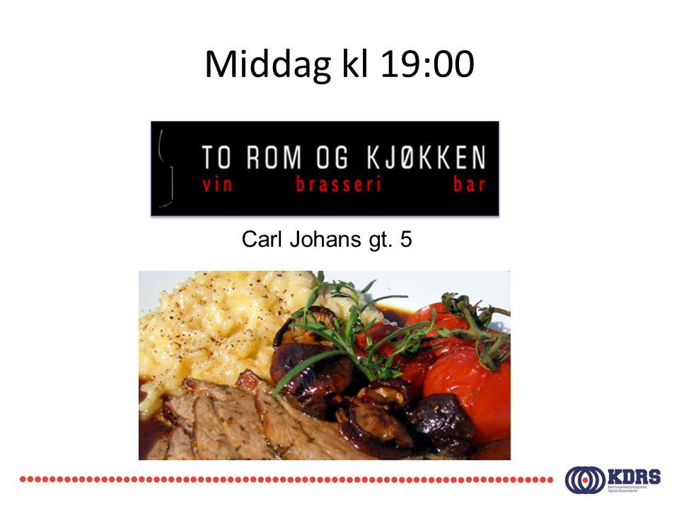 Middag kl 19:00 Carl Johans gt. 5