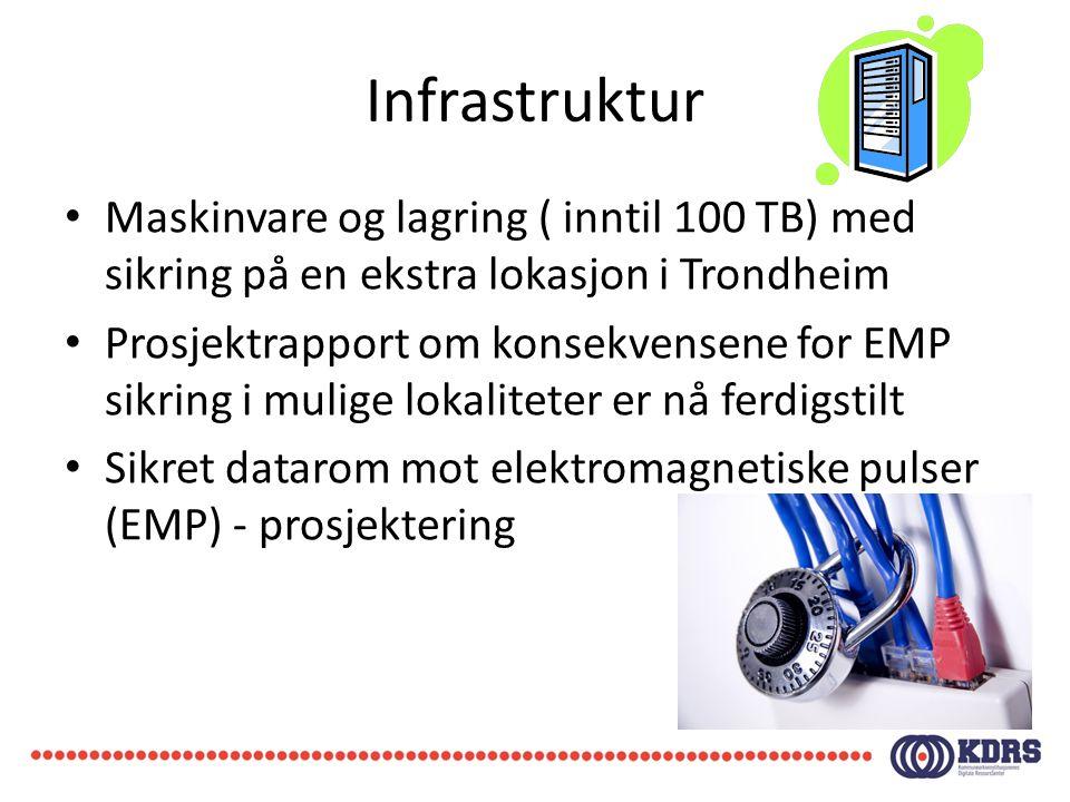Infrastruktur • Maskinvare og lagring ( inntil 100 TB) med sikring på en ekstra lokasjon i Trondheim • Prosjektrapport om konsekvensene for EMP sikrin