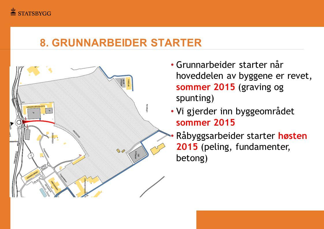 8. GRUNNARBEIDER STARTER • Grunnarbeider starter når hoveddelen av byggene er revet, sommer 2015 (graving og spunting) • Vi gjerder inn byggeområdet s