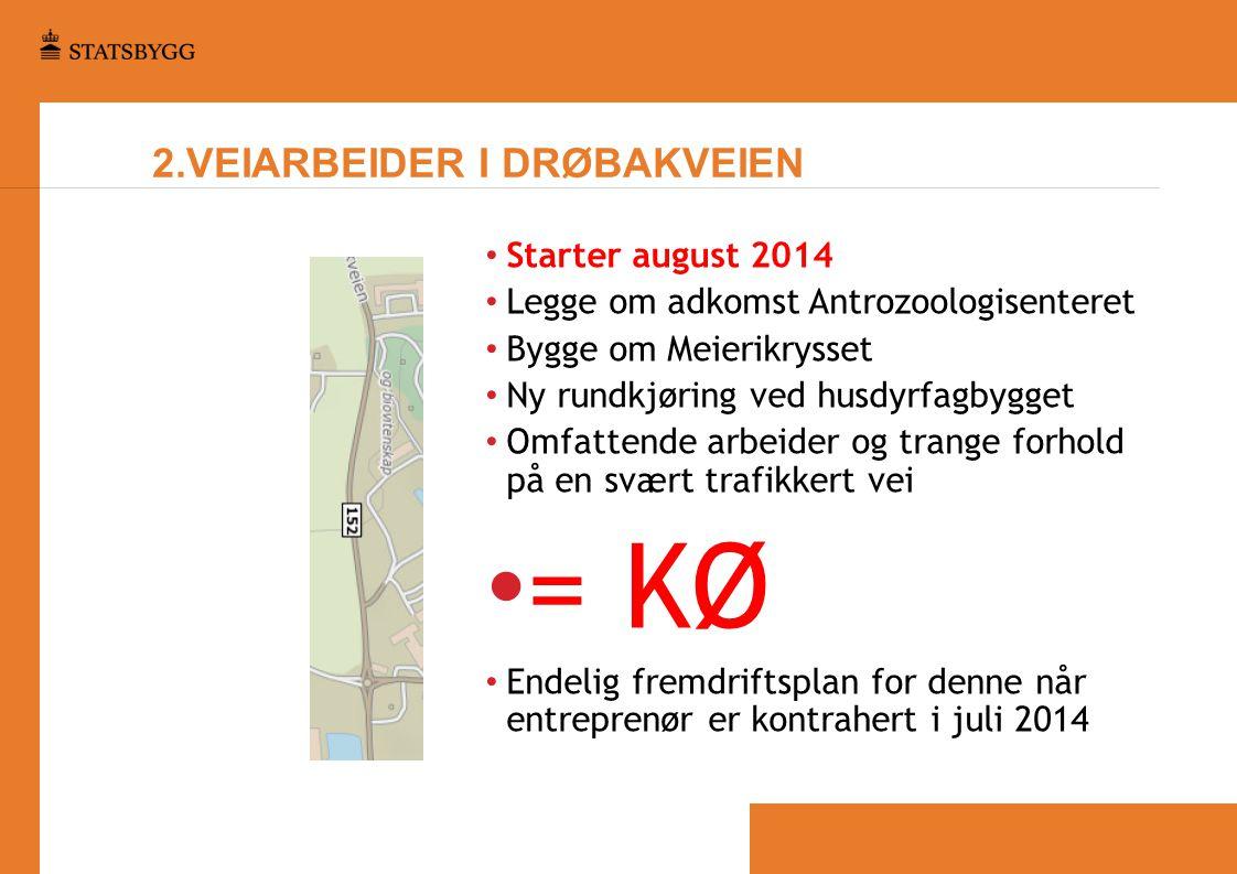2.VEIARBEIDER I DRØBAKVEIEN • Starter august 2014 • Legge om adkomst Antrozoologisenteret • Bygge om Meierikrysset • Ny rundkjøring ved husdyrfagbygge