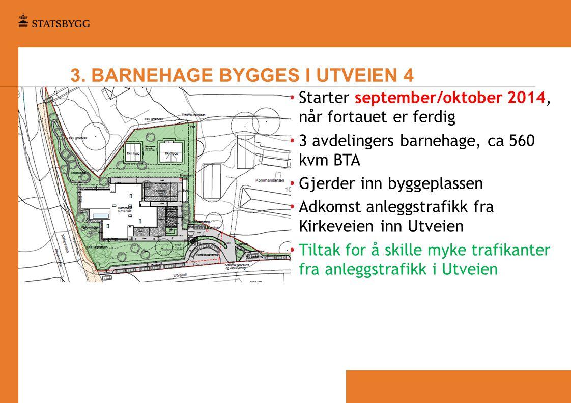 3. BARNEHAGE BYGGES I UTVEIEN 4 • Starter september/oktober 2014, når fortauet er ferdig • 3 avdelingers barnehage, ca 560 kvm BTA • Gjerder inn bygge