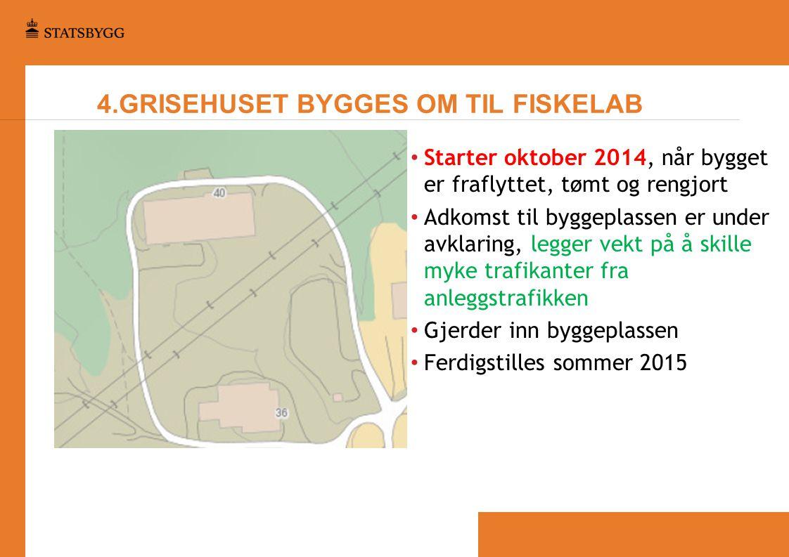4.GRISEHUSET BYGGES OM TIL FISKELAB • Starter oktober 2014, når bygget er fraflyttet, tømt og rengjort • Adkomst til byggeplassen er under avklaring,