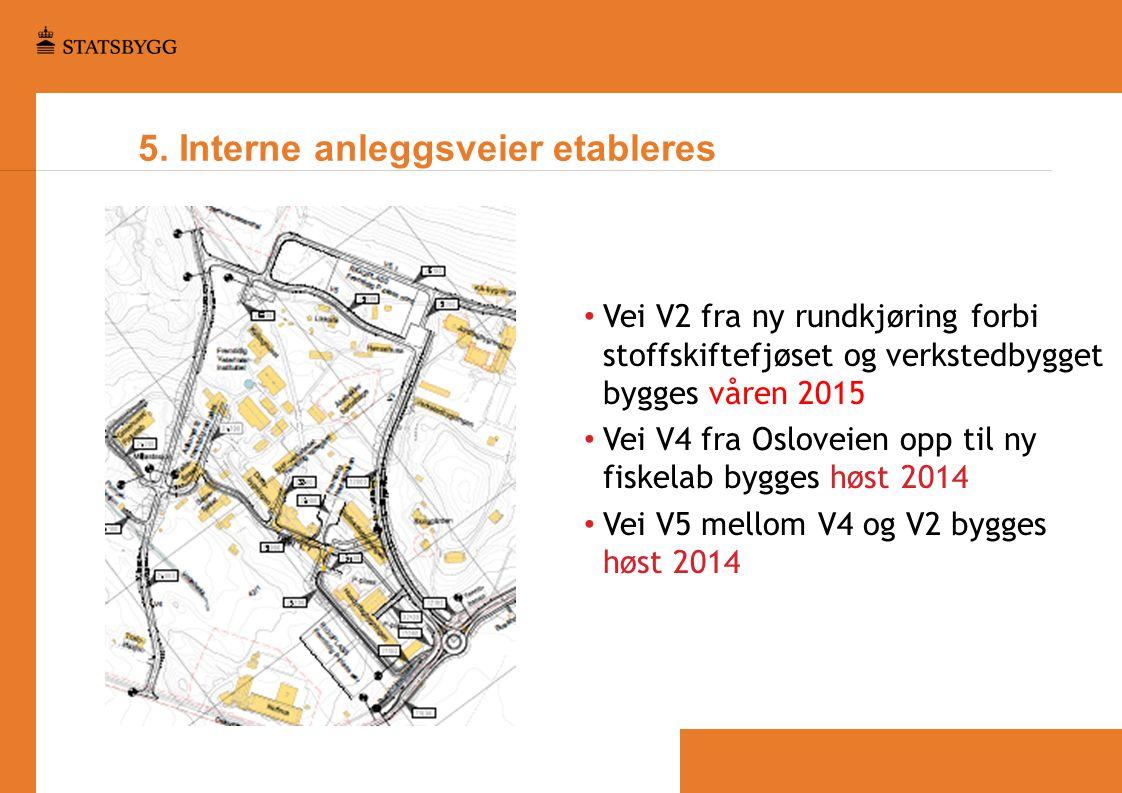 5. Interne anleggsveier etableres • Vei V2 fra ny rundkjøring forbi stoffskiftefjøset og verkstedbygget bygges våren 2015 • Vei V4 fra Osloveien opp t