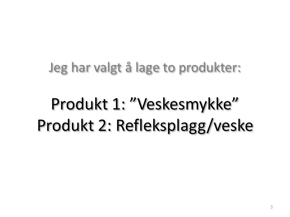 """Jeg har valgt å lage to produkter: Produkt 1: """"Veskesmykke"""" Produkt 2: Refleksplagg/veske 3"""