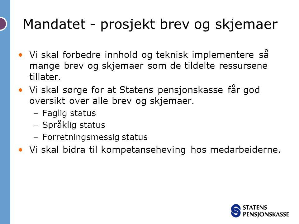 Mandatet - prosjekt brev og skjemaer •Vi skal forbedre innhold og teknisk implementere så mange brev og skjemaer som de tildelte ressursene tillater.