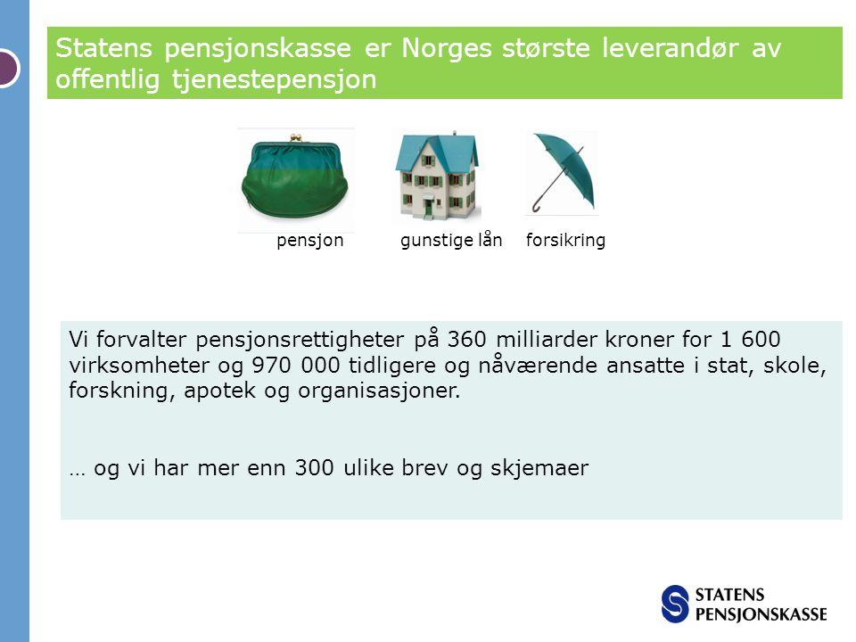 Statens pensjonskasse er Norges største leverandør av offentlig tjenestepensjon Vi forvalter pensjonsrettigheter på 360 milliarder kroner for 1 600 vi