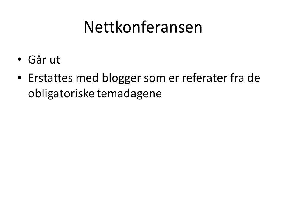Nettkonferansen • Går ut • Erstattes med blogger som er referater fra de obligatoriske temadagene