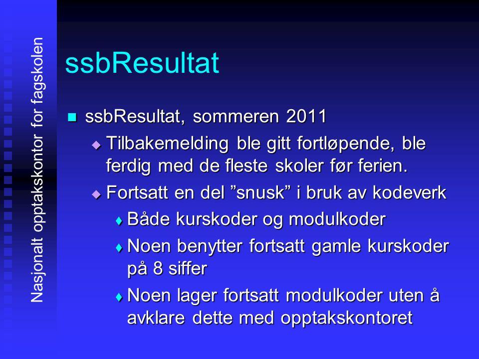 ssbResultat sssssbResultat, sommeren 2011 TTTTilbakemelding ble gitt fortløpende, ble ferdig med de fleste skoler før ferien.