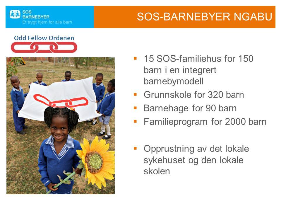 SOS-BARNEBYER NGABU  15 SOS-familiehus for 150 barn i en integrert barnebymodell  Grunnskole for 320 barn  Barnehage for 90 barn  Familieprogram for 2000 barn  Opprustning av det lokale sykehuset og den lokale skolen Odd Fellow Ordenen