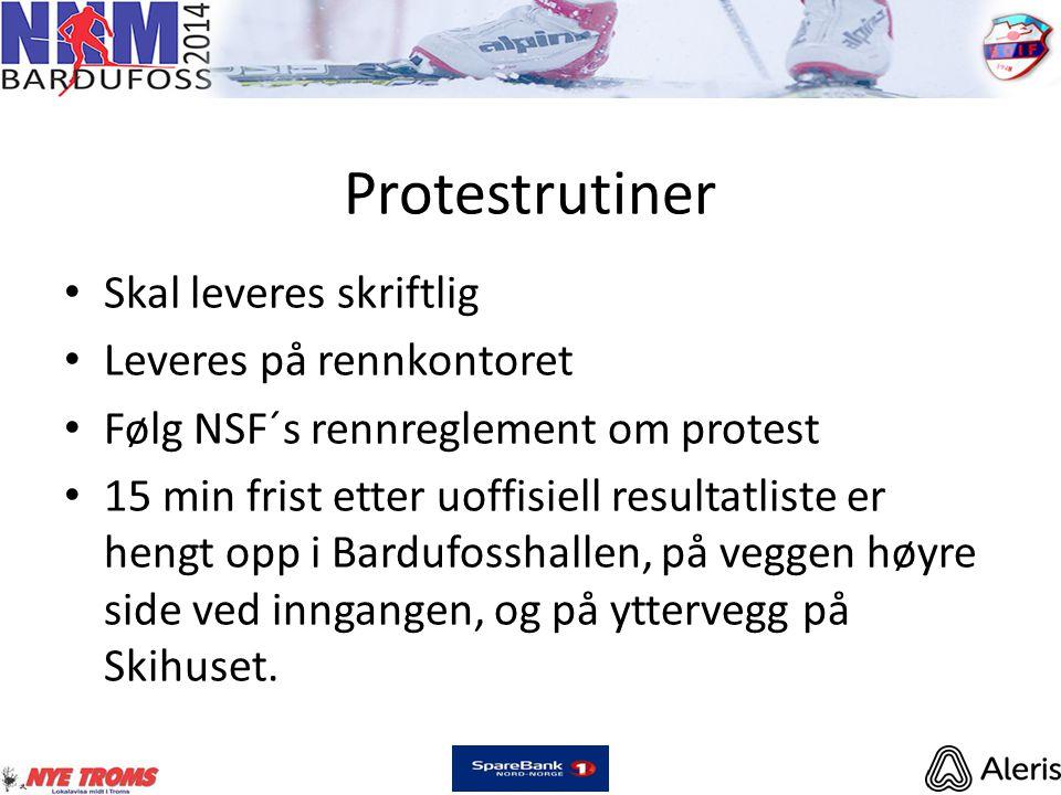 Protestrutiner • Skal leveres skriftlig • Leveres på rennkontoret • Følg NSF´s rennreglement om protest • 15 min frist etter uoffisiell resultatliste