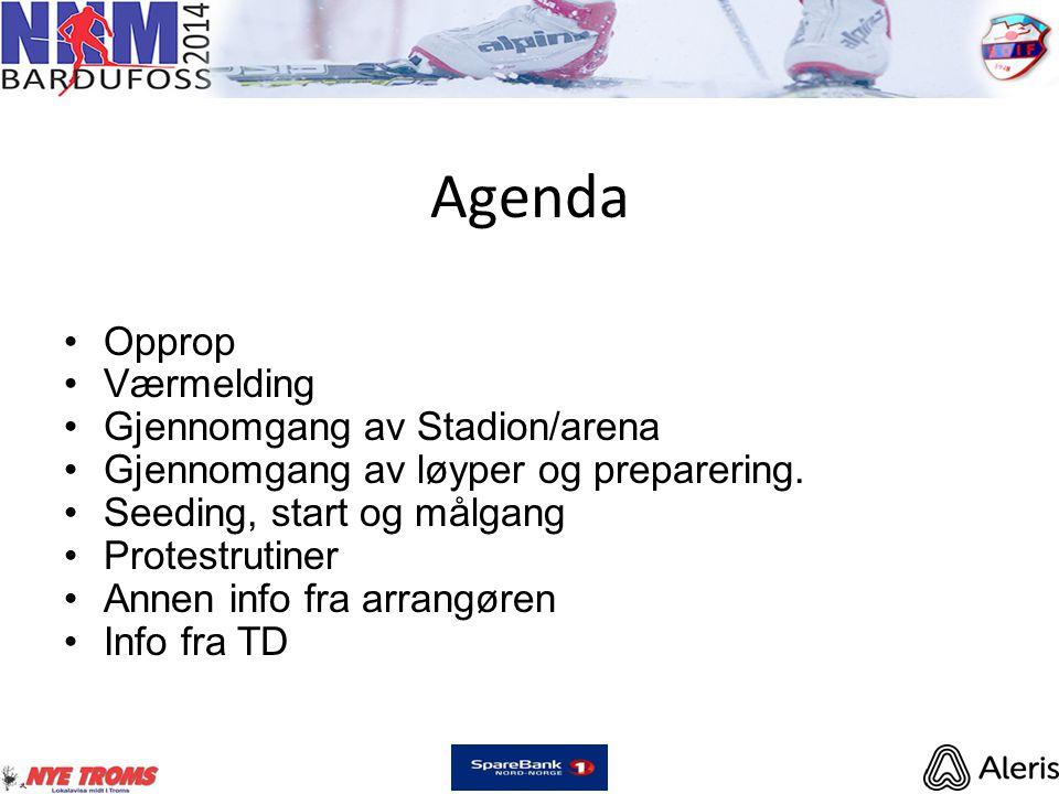 Agenda •Opprop •Værmelding •Gjennomgang av Stadion/arena •Gjennomgang av løyper og preparering. •Seeding, start og målgang •Protestrutiner •Annen info