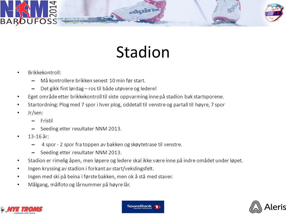 Stadion • Brikkekontroll: – Må kontrollere brikken senest 10 min før start. – Det gikk fint lørdag – ros til både utøvere og ledere! • Eget område ett