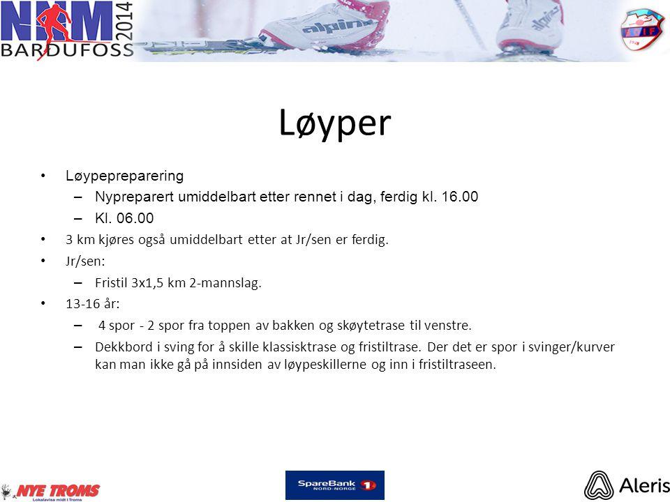Løyper •Løypepreparering –Nypreparert umiddelbart etter rennet i dag, ferdig kl. 16.00 –Kl. 06.00 • 3 km kjøres også umiddelbart etter at Jr/sen er fe