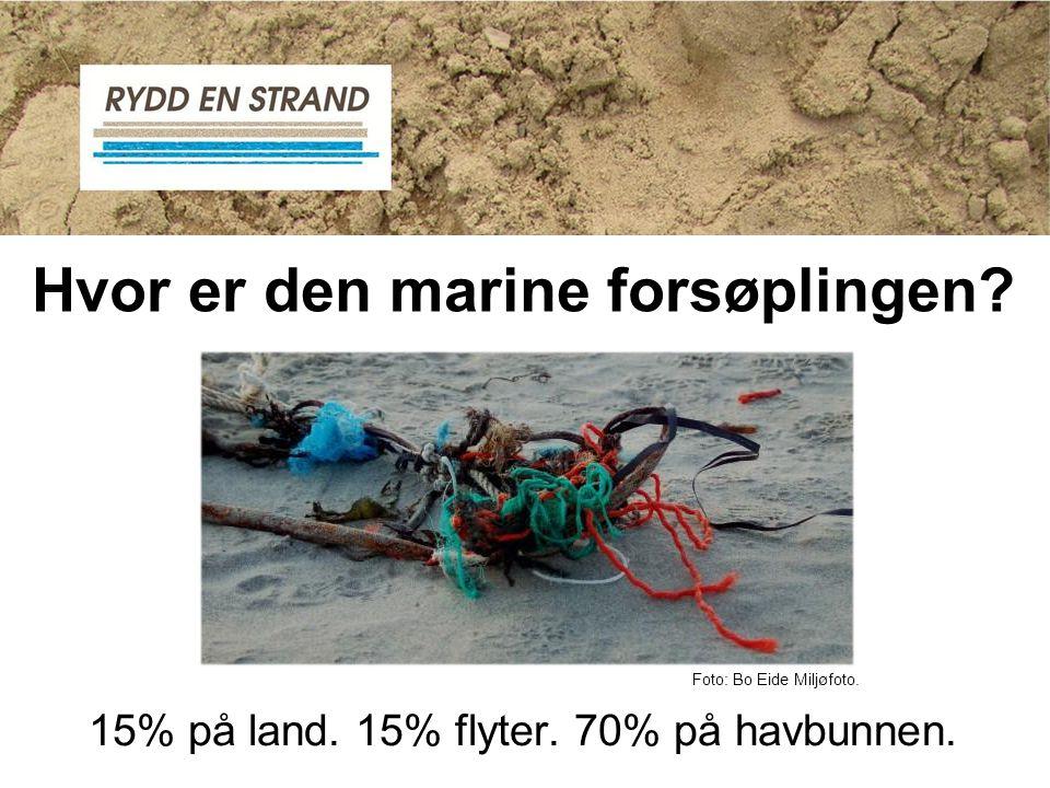 Hvor er den marine forsøplingen? 15% på land. 15% flyter. 70% på havbunnen. Foto: Bo Eide Miljøfoto.
