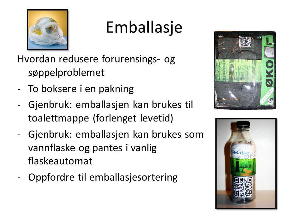 Emballasje Hvordan redusere forurensings- og søppelproblemet -To boksere i en pakning -Gjenbruk: emballasjen kan brukes til toalettmappe (forlenget le