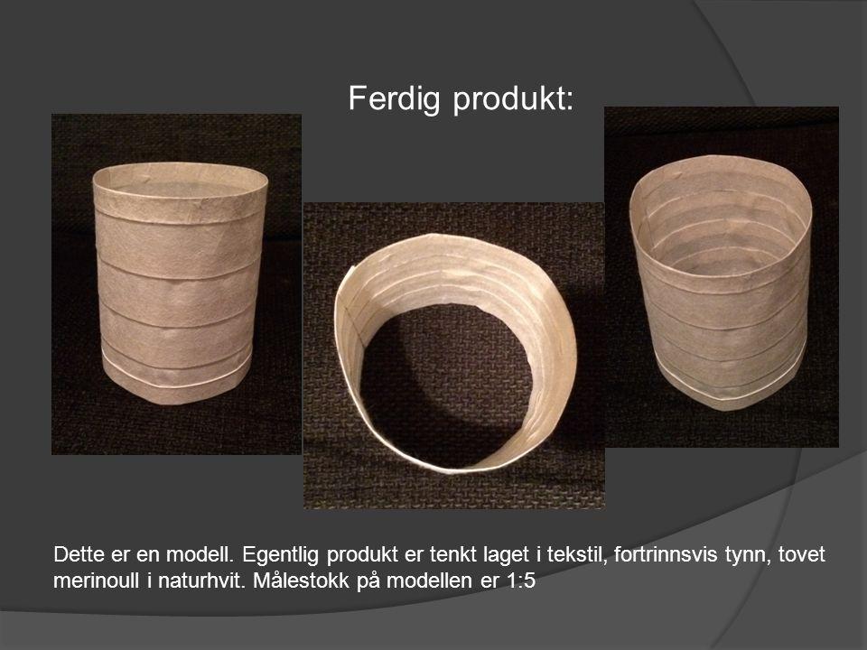 Ferdig produkt: Dette er en modell. Egentlig produkt er tenkt laget i tekstil, fortrinnsvis tynn, tovet merinoull i naturhvit. Målestokk på modellen e