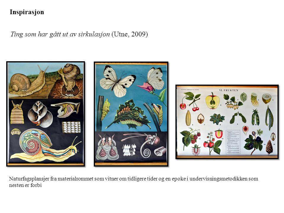 Inspirasjon Ting som har gått ut av sirkulasjon (Utne, 2009) Naturfagsplansjer fra materialrommet som vitner om tidligere tider og en epoke i undervis