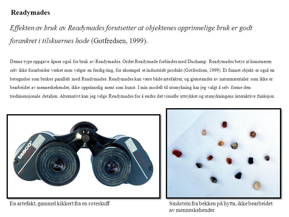 Readymades Effekten av bruk av Readymades forutsetter at objektenes opprinnelige bruk er godt forankret i tilskuernes hode (Gotfredsen, 1999). Denne t
