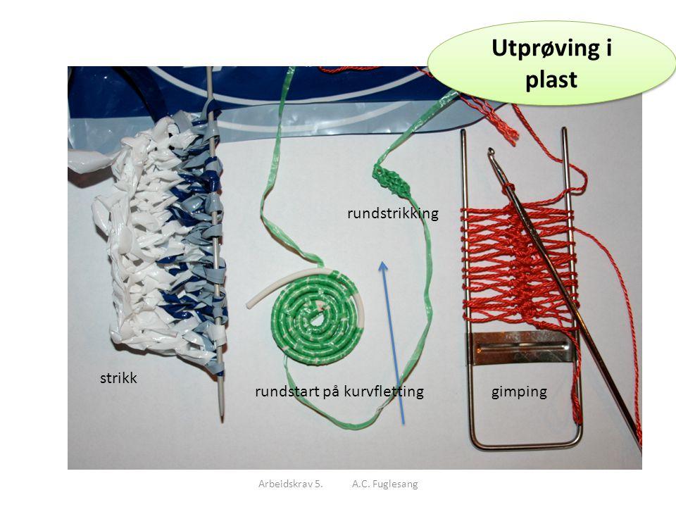Utprøving i plast Arbeidskrav 5. A.C. Fuglesang Utprøving i plast strikk rundstart på kurvfletting rundstrikking gimping