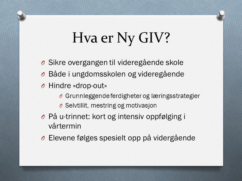 Hva er Ny GIV? O Sikre overgangen til videregående skole O Både i ungdomsskolen og videregående O Hindre «drop-out» O Grunnleggende ferdigheter og lær