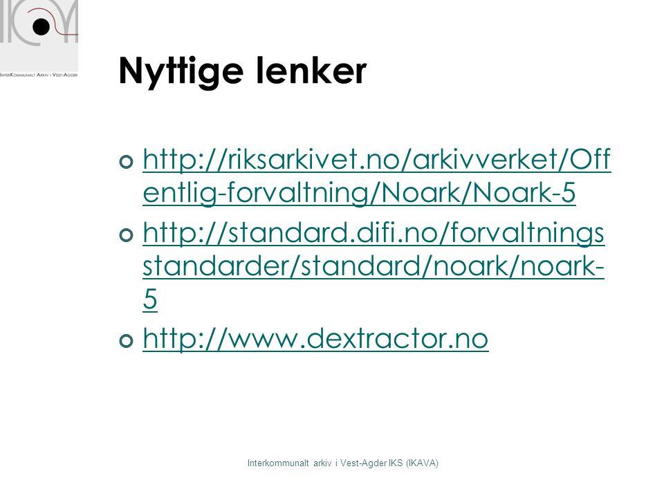 Nyttige lenker http://riksarkivet.no/arkivverket/Off entlig-forvaltning/Noark/Noark-5 http://standard.difi.no/forvaltnings standarder/standard/noark/n