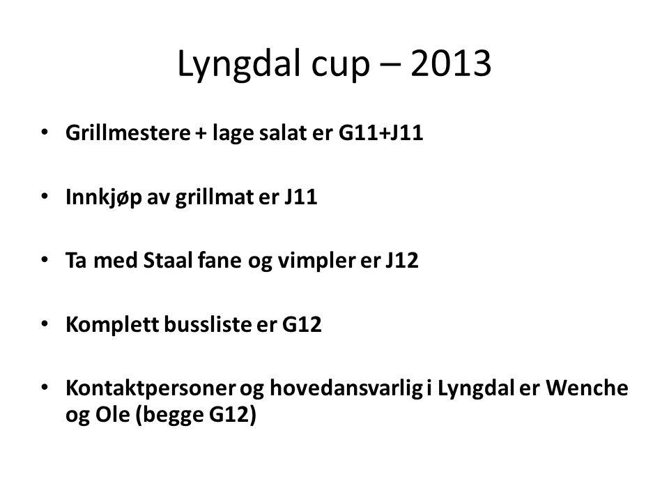 Lyngdal cup – 2013 • Grillmestere + lage salat er G11+J11 • Innkjøp av grillmat er J11 • Ta med Staal fane og vimpler er J12 • Komplett bussliste er G12 • Kontaktpersoner og hovedansvarlig i Lyngdal er Wenche og Ole (begge G12)