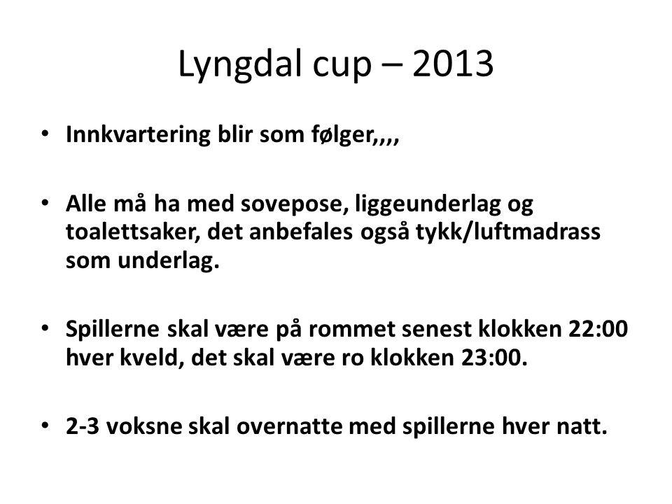 Lyngdal cup – 2013 • Innkvartering blir som følger,,,, • Alle må ha med sovepose, liggeunderlag og toalettsaker, det anbefales også tykk/luftmadrass som underlag.