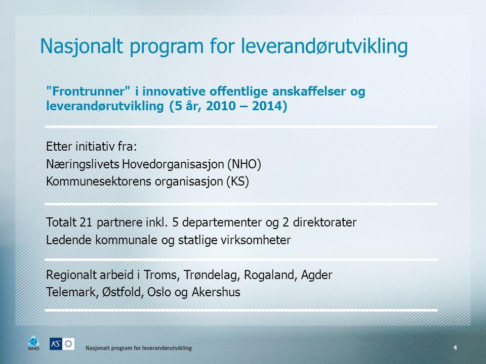 Nasjonalt programfor leverandørutvikling Frontrunner i innovative offentlige anskaffelser og leverandørutvikling (5 år, 2010 – 2014) Etter initiativ fra: Næringslivets Hovedorganisasjon (NHO) Kommunesektorens organisasjon (KS) Totalt 21 partnere inkl.