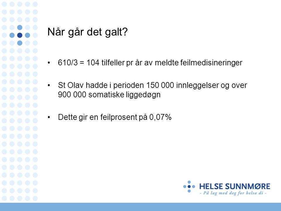 Når går det galt? •610/3 = 104 tilfeller pr år av meldte feilmedisineringer •St Olav hadde i perioden 150 000 innleggelser og over 900 000 somatiske l