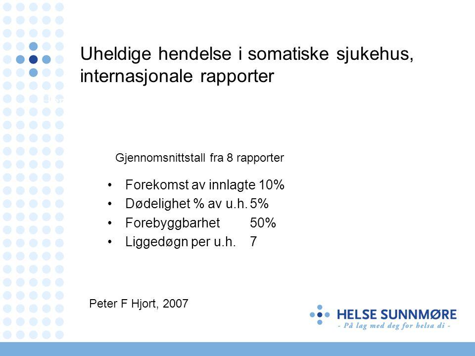 •Forekomst av innlagte 10% •Dødelighet % av u.h.5% •Forebyggbarhet50% •Liggedøgn per u.h.7 Gjennomsnittstall fra 8 rapporter Peter F Hjort, 2007 Her e