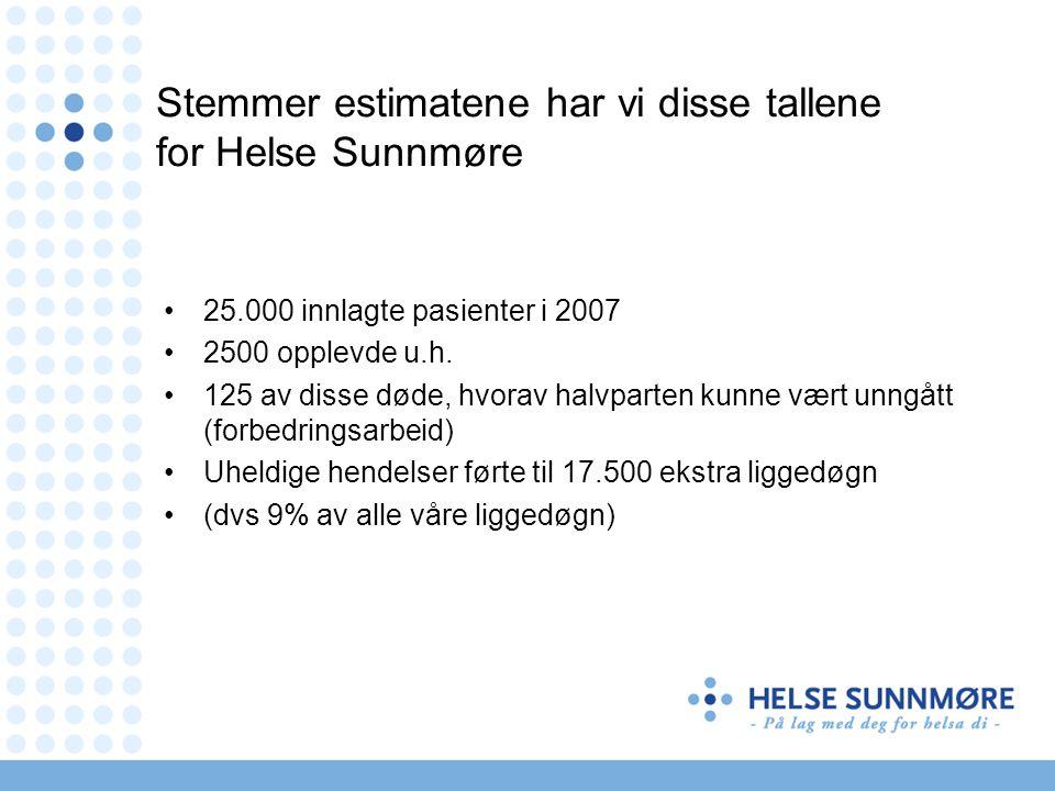 Stemmer estimatene har vi disse tallene for Helse Sunnmøre •25.000 innlagte pasienter i 2007 •2500 opplevde u.h.
