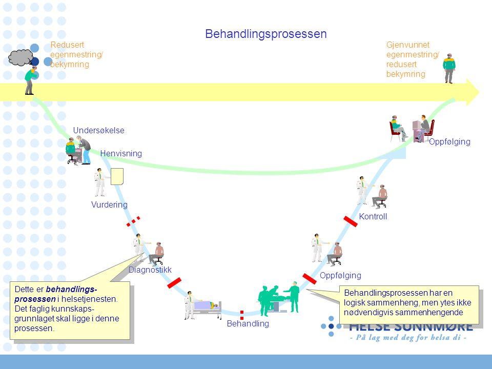 Behandlingsprosessen Redusert egenmestring/ bekymring Gjenvunnet egenmestring/ redusert bekymring Oppfølging Vurdering Diagnostikk Kontroll Behandling Dette er behandlings- prosessen i helsetjenesten.