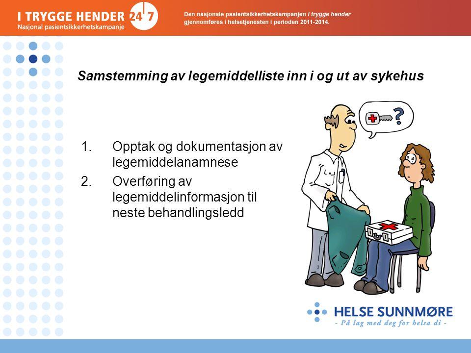 Samstemming av legemiddelliste inn i og ut av sykehus 1.Opptak og dokumentasjon av legemiddelanamnese 2.Overføring av legemiddelinformasjon til neste