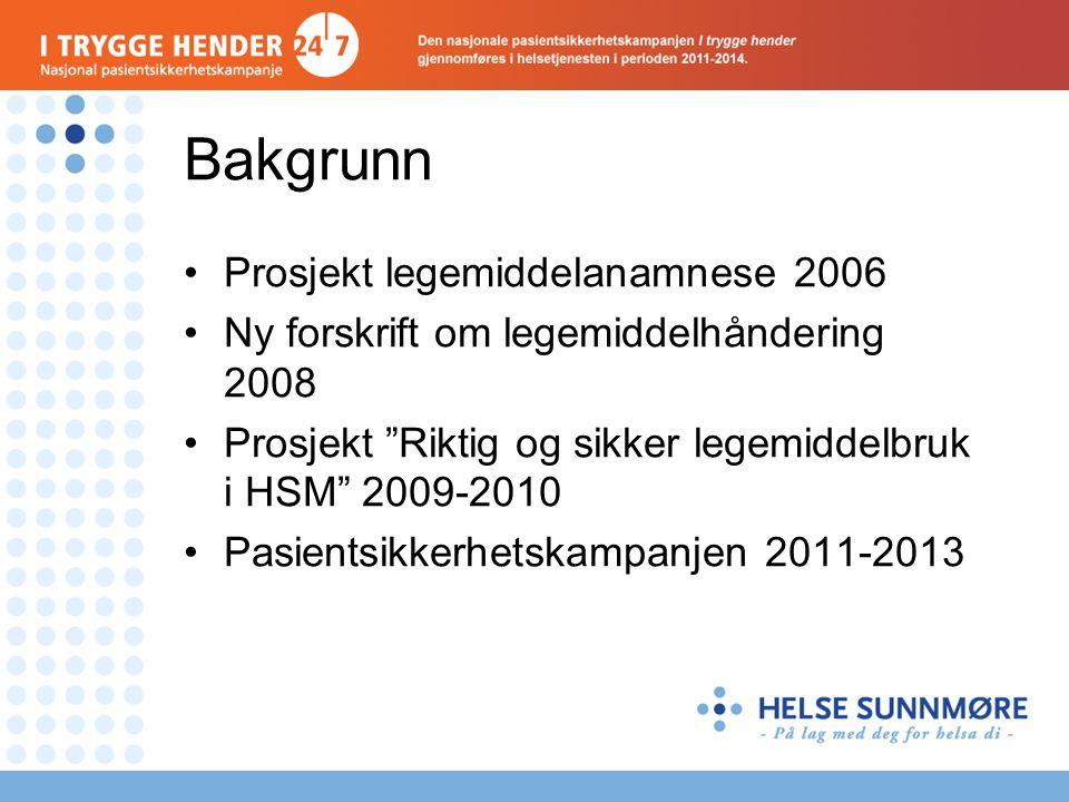 Bakgrunn •Prosjekt legemiddelanamnese 2006 •Ny forskrift om legemiddelhåndering 2008 •Prosjekt Riktig og sikker legemiddelbruk i HSM 2009-2010 •Pasientsikkerhetskampanjen 2011-2013
