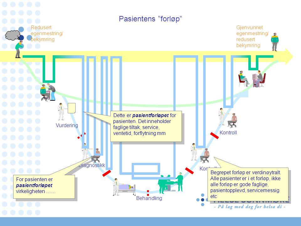 Redusert egenmestring/ bekymring Gjenvunnet egenmestring/ redusert bekymring Pasientens forløp Kontroll Vurdering Diagnostikk Kontroll Behandling Dette er pasientforløpet for pasienten.