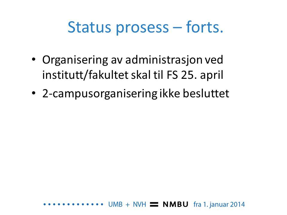 Status prosess – forts. • Organisering av administrasjon ved institutt/fakultet skal til FS 25. april • 2-campusorganisering ikke besluttet