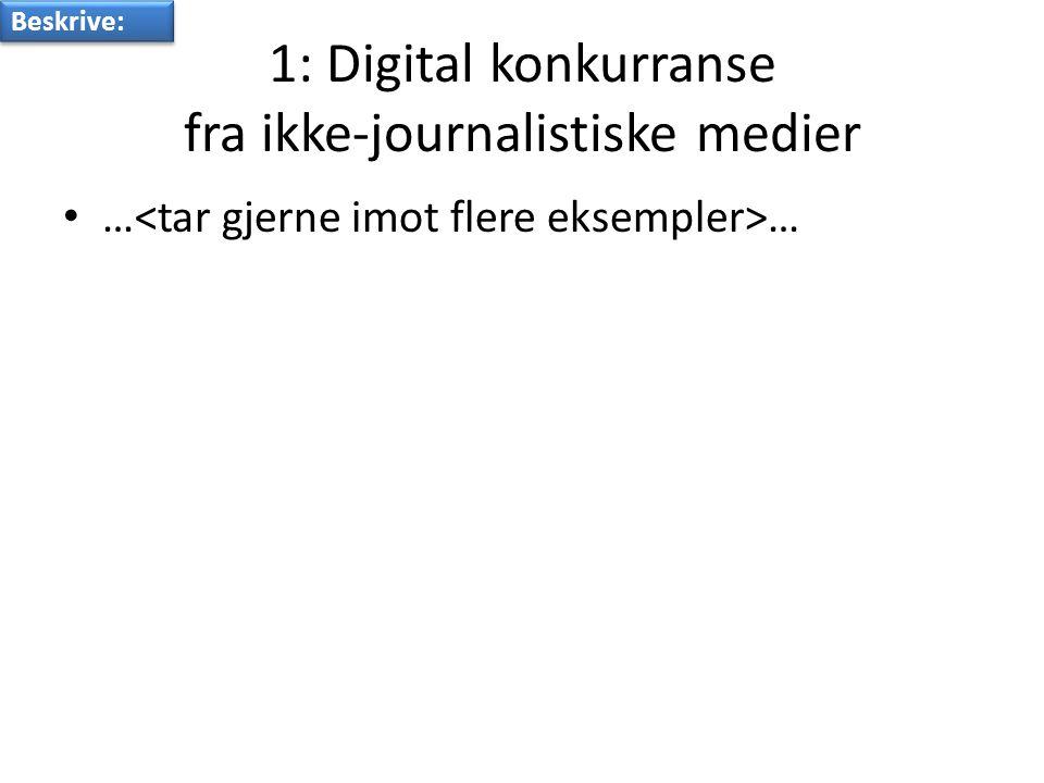 1: Digital konkurranse fra ikke-journalistiske medier • … … Beskrive: