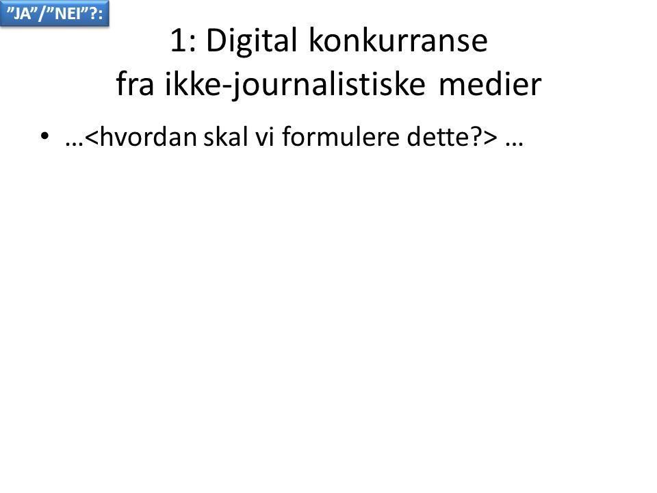 1: Digital konkurranse fra ikke-journalistiske medier • … … JA / NEI :