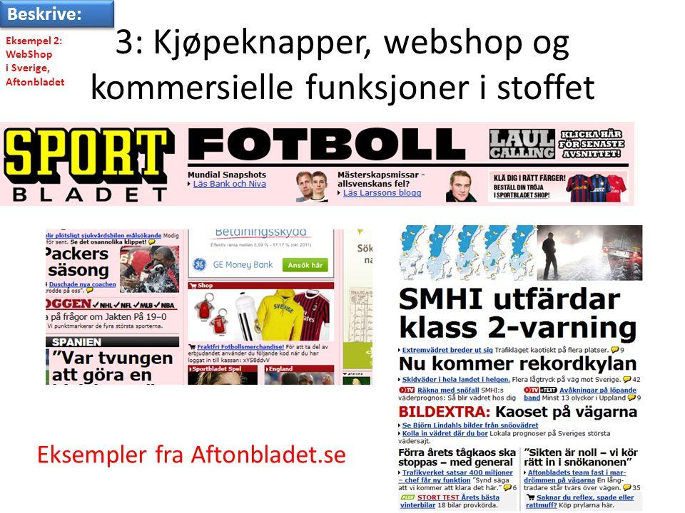 3: Kjøpeknapper, webshop og kommersielle funksjoner i stoffet Eksempler fra Aftonbladet.se Eksempel 2: WebShop i Sverige, Aftonbladet Beskrive: