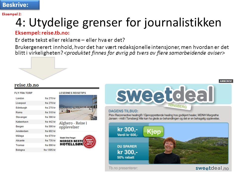 4: Utydelige grenser for journalistikken Eksempel: reise.tb.no: Er dette tekst eller reklame – eller hva er det.