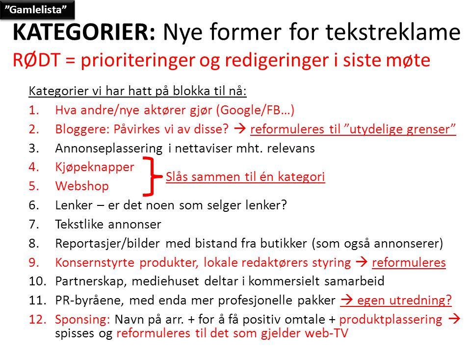 KATEGORIER: Nye former for tekstreklame RØDT = prioriteringer og redigeringer i siste møte Kategorier vi har hatt på blokka til nå: 1.Hva andre/nye aktører gjør (Google/FB…) 2.Bloggere: Påvirkes vi av disse.
