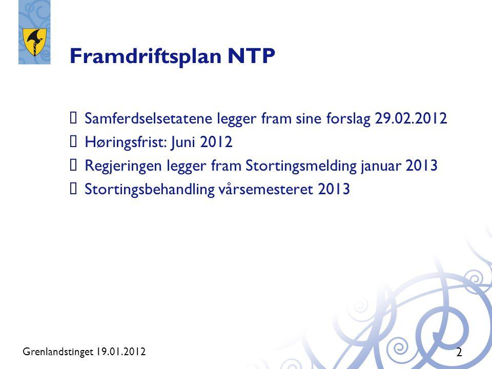 Framdriftsplan NTP  Samferdselsetatene legger fram sine forslag 29.02.2012  Høringsfrist: Juni 2012  Regjeringen legger fram Stortingsmelding janua
